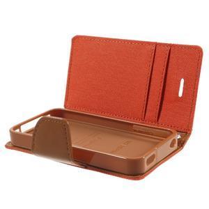 Canvas PU kožené/textilní pouzdro na iPhone 4 - oranžové - 6