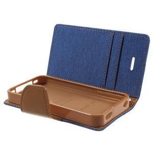 Canvas PU kožené/textilní pouzdro na iPhone 4 - modré - 6