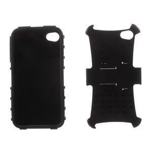 Outdoor odolný obal na mobil iPhone 4 - černý - 6