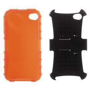 Outdoor odolný obal na mobil iPhone 4 - oranžový - 6