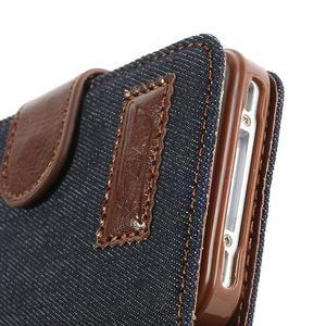 Jeans peněženkové pouzdro na iPhone 4 - černomodré - 6
