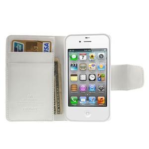 Diary PU kožené knížkové pouzdro na iPhone 4 - bílé - 6