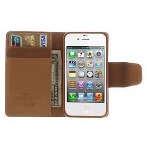 Diary PU kožené knížkové pouzdro na iPhone 4 - hnědé - 6