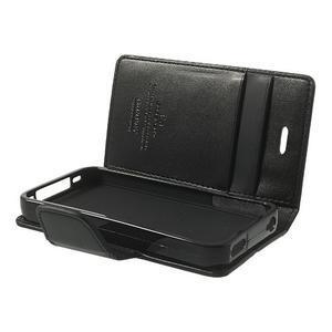 Diary PU kožené knížkové pouzdro na iPhone 4 - černé - 6