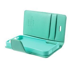 Diary PU kožené knížkové pouzdro na iPhone 4 - azurové - 6