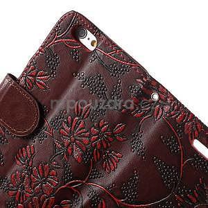 Elegantní květinové peněženkové pouzdro na iPhone 6 a 6s - červenohnědé - 6