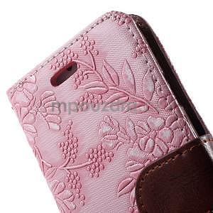 Elegantní květinové peněženkové pouzdro na iPhone 6 a 6s - růžové - 6
