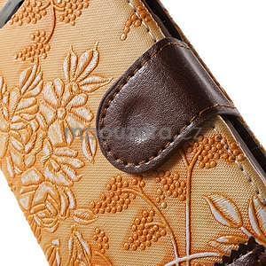 Elegantní květinové peněženkové pouzdro na iPhone 6 a 6s - oranžové - 6