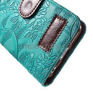 Elegantní květinové peněženkové  pouzdro na iPhone 6 a 6s - tyrkysové - 6