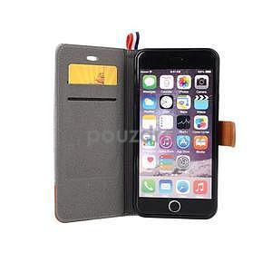 Látkové/koženkové peněženkové pouzdro na iphone 6s a 6 - šedé - 6
