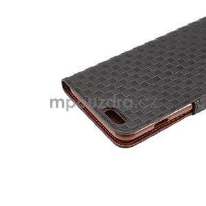 Mřížkované koženkové pouzdro na iPhone 6 a iPhone 6s - černé - 6