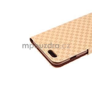 Mřížkované koženkové pouzdro na iPhone 6 a iPhone 6s - béžové - 6