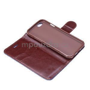 Jeans látkové/pu kožené peněženkové pouzdro na iPhone 6 a 6s - tmavě modré - 6