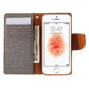 Canvas PU kožené/textilní pouzdro na mobil iPhone SE / 5s / 5 - šedé - 6
