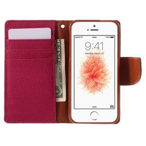 Canvas PU kožené/textilní pouzdro na mobil iPhone SE / 5s / 5 - červené - 6