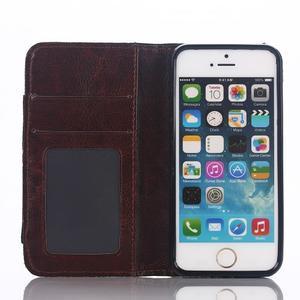 Jeans peněženkové pouzdro na mobil iPhone SE / 5s / 5 - černomodré - 6