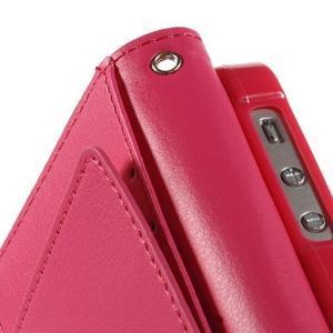Rich diary PU kožené pouzdro na iPhone SE / 5s / 5 - růžové - 6