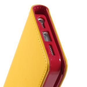 Rich diary PU kožené pouzdro na iPhone SE / 5s / 5 - žluté - 6