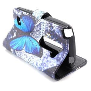 Style peněženkové pouzdro na LG Leon - modrý motýl - 6