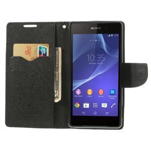Fancy peněženkové pouzdro na Sony Xperia Z2 - černé - 6