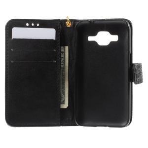 Croco peněženkové pouzdro na Samsung Galaxy Core Prime - černé - 6