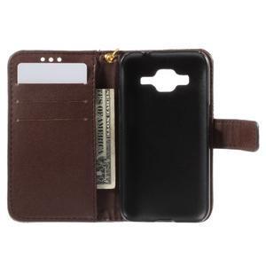 Croco peněženkové pouzdro na Samsung Galaxy Core Prime - coffee - 6
