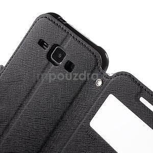 PU kožené pouzdro s okýnkem Samsung Galaxy J1 - černé - 6