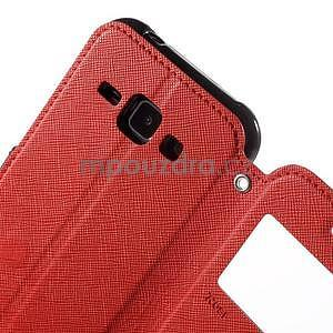 PU kožené pouzdro s okýnkem Samsung Galaxy J1 - červené/černé - 6