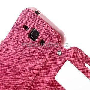 PU kožené pouzdro s okýnkem Samsung Galaxy J1 - rose/růžové - 6
