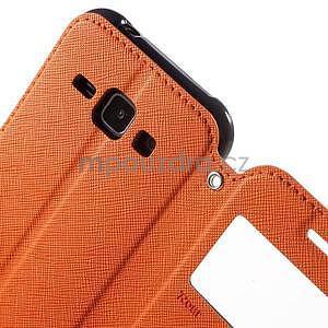 PU kožené pouzdro s okýnkem Samsung Galaxy J1 - oranžové/tmavě modré - 6