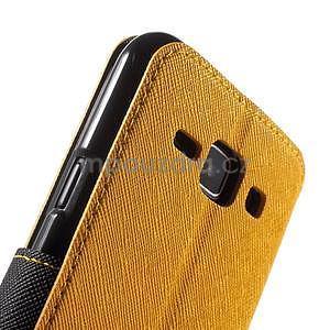 PU kožené pouzdro s okýnkem Samsung Galaxy J1 - žluté/černé - 6