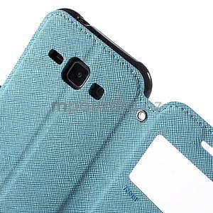 PU kožené pouzdro s okýnkem Samsung Galaxy J1 - světle modré/tmavě modré - 6