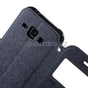 PU kožené pouzdro s okýnkem Samsung Galaxy J1 - tmavě modré/černé - 6