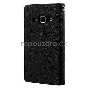 Černé PU kožené pouzdro na Samsung Galaxy J1 - 6