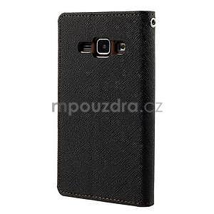 Černé/hnědé PU kožené pouzdro na Samsung Galaxy J1 - 6