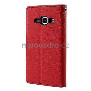 Červené/tmavě modré PU kožené pouzdro na Samsung Galaxy J1 - 6
