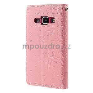Růžové/rose PU kožené pouzdro na Samsung Galaxy J1 - 6