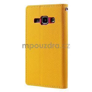Žluté/rose PU kožené pouzdro na Samsung Galaxy J1 - 6