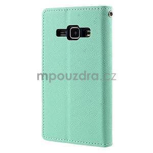 Azurové/tmavě modré PU kožené pouzdro na Samsung Galaxy J1 - 6