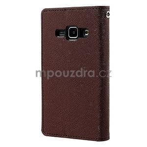 Hnědé/černé PU kožené pouzdro na Samsung Galaxy J1 - 6