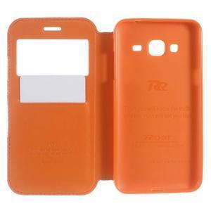 Peněženkové PU kožené pouzdro s okýnkem na Samsung Galaxy J3 (2016) - oranžové - 6