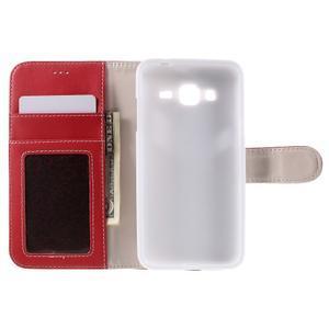 High PU kožené pouzdro na mobil Samsung Galaxy J3 (2016) - červené - 6