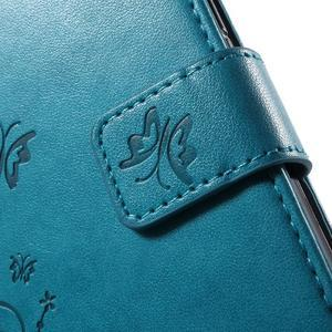 Butterfly PU kožené pouzdro na Samsung Galaxy J5 - modré - 6