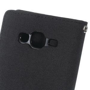 Luxury textilní/pu kožené pouzdro na Samsung Galaxy J5 - černé - 6