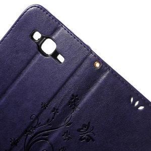 Butterfly PU kožené pouzdro na Samsung Galaxy J5 - fialové - 6