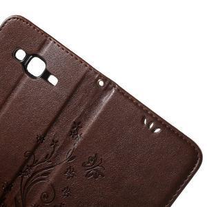 Butterfly PU kožené pouzdro na Samsung Galaxy J5 - hnědé - 6