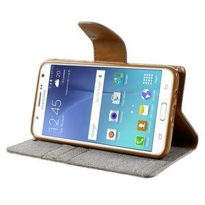 Canvas PU kožené/textilní pouzdro na Samsung Galaxy J5 (2016) - šedé - 6