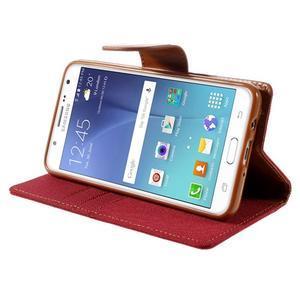 Canvas PU kožené/textilní pouzdro na Samsung Galaxy J5 (2016) - červené - 6