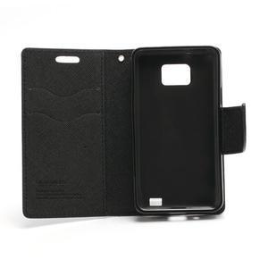 Diary PU kožené pouzdro na mobil Samsung Galaxy S2 - černé - 6