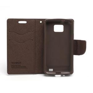 Diary PU kožené pouzdro na mobil Samsung Galaxy S2 - černé/hnědé - 6